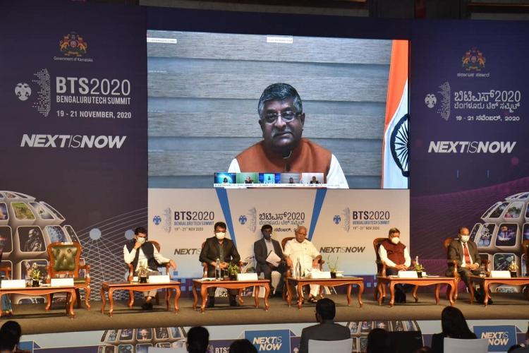 Union Minister Ravi Shankar Prasad on a LCD screen as he addresses Bengaluru Tech Summit