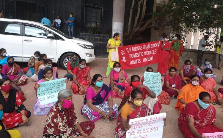 Unemployed during lockdown Bengaluru domestic workers meet labour department