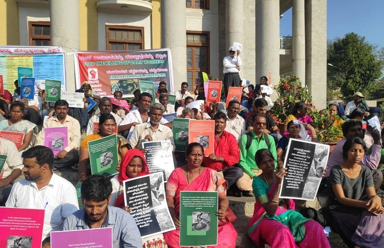 Never ending tragedy Bengaluru blue collar workers protest manual scavenging deaths