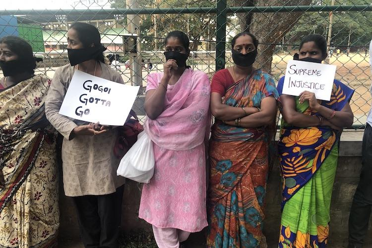 Bengaluru activists citizens stage protest against clean chit to CJI Gogoi