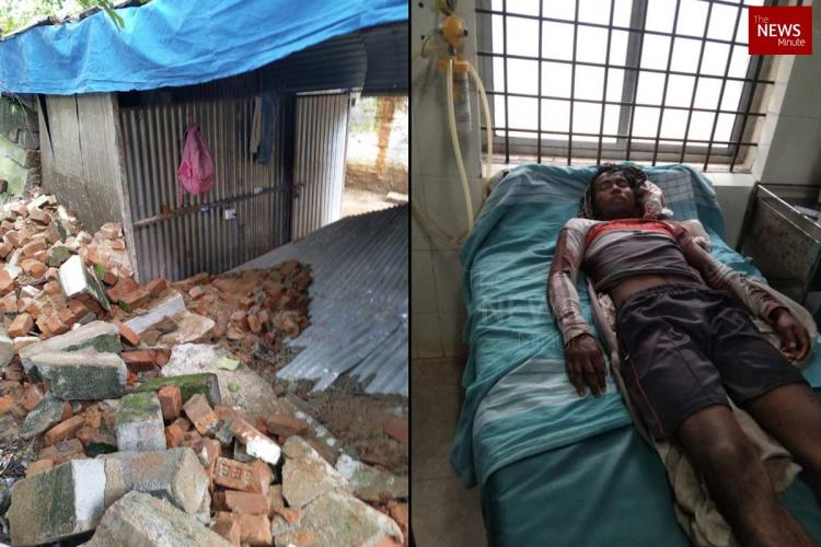 Collage of collapsed wall in Mahalaxmi Layout construction site and injured man at KC General Hospital