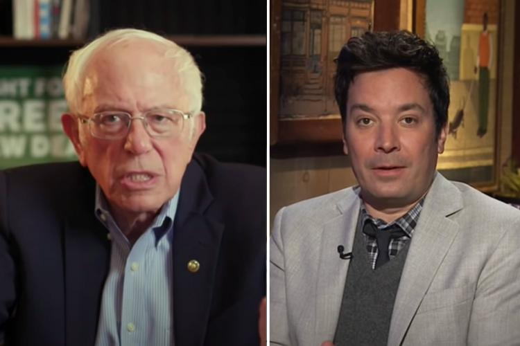 A screengrab of Bernie Sanders and Jimmy Fallon on the Tonight Show with Jimmy Fallon