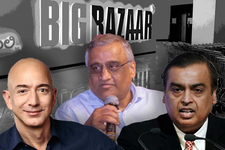 Jeff Bezos Kishore Biyani and Mukesh Ambani against the background of Big Bazaar logo