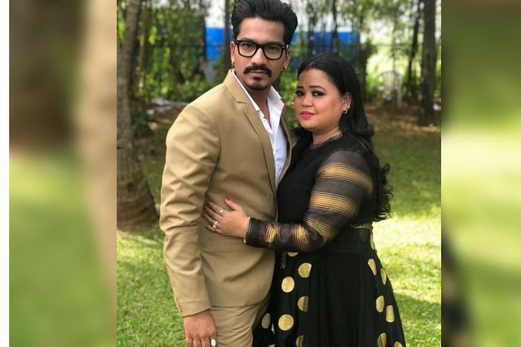 Comedian Bharti Singh posing for a photograph with her husband Haarsh Limachiyaa