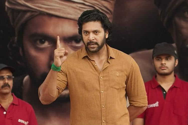 Jayam Ravi in Bhoomi still holding his finger up