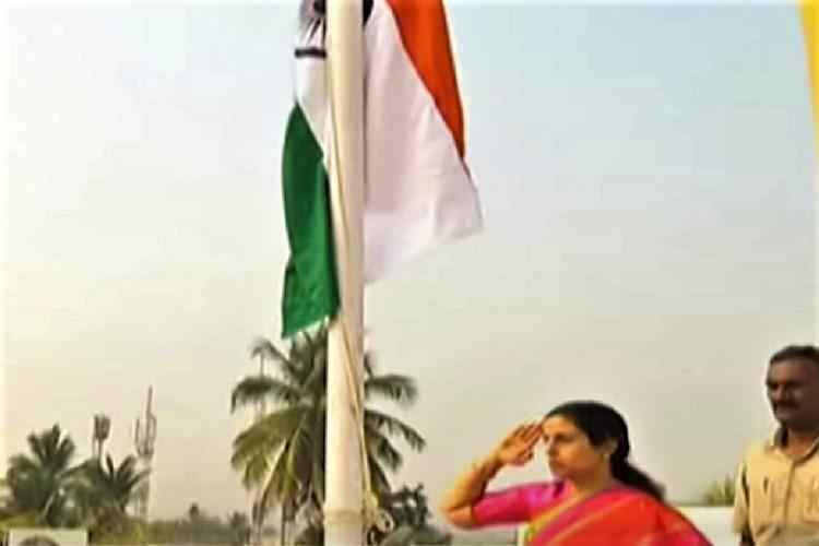 Breach of protocol Naidus wife sparks row hoists flag at Andhra CMs camp office