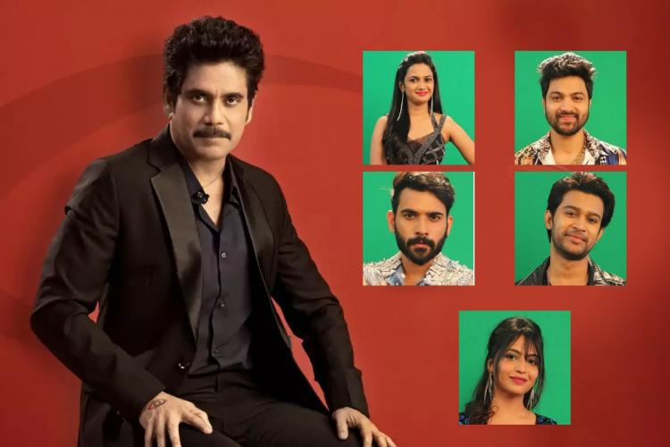 BiggBoss final week contestants are seen in a small green boxes beside Nagarjuna posing for a picture