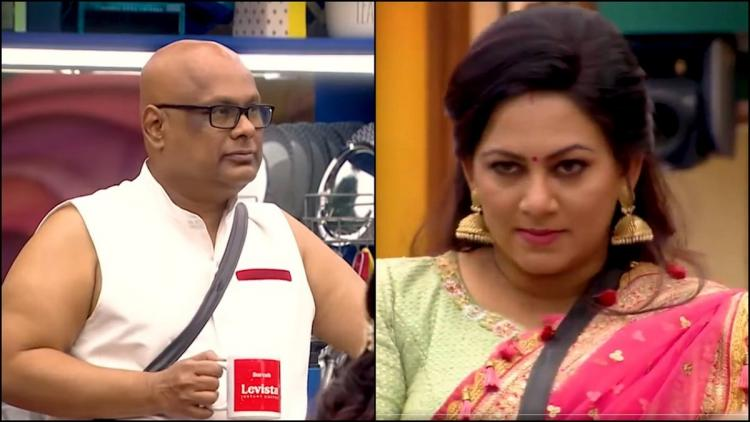 Bigg Boss contestants shown in a collage One contestant was wearing a white T shirt and the other contestant was wearing a pink half saree