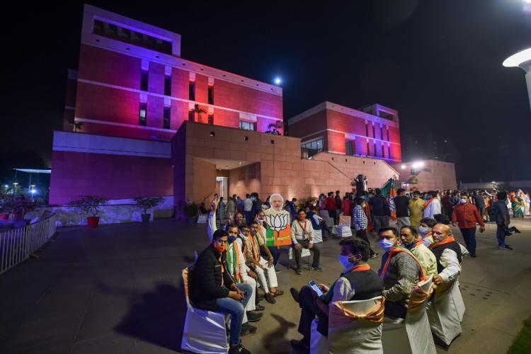 BJP workers in Bihar on November 10, 2020