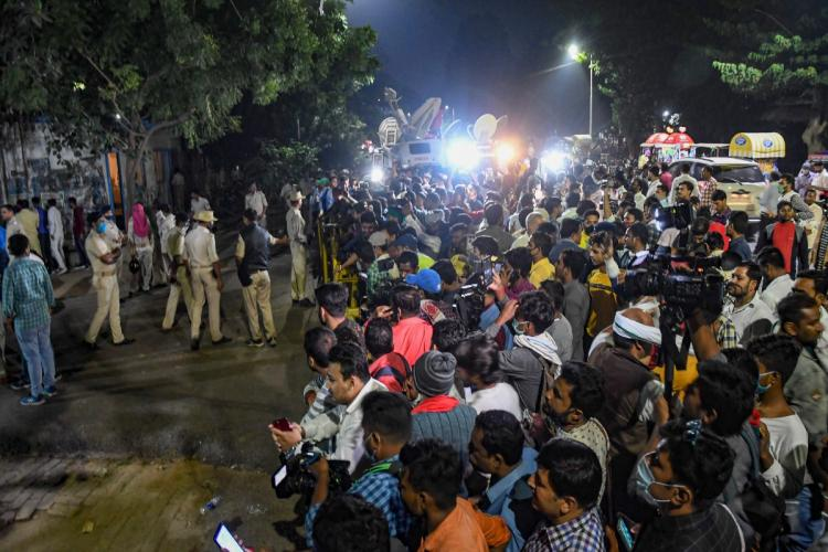 News cameras and media in Bihar as counting of votes is underway