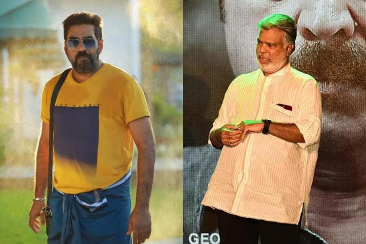 Biju Menon in a yellow T shirt and sun glasses and Joshiy in a long white shirt