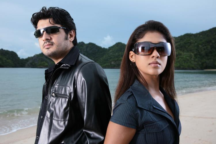 Actor Ajith Kumar on the left and Nayanthara on the right