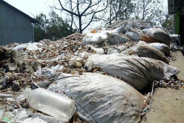 Heap of biomedical waste at IMA plant-INAGE-in Kerala's Palakkad