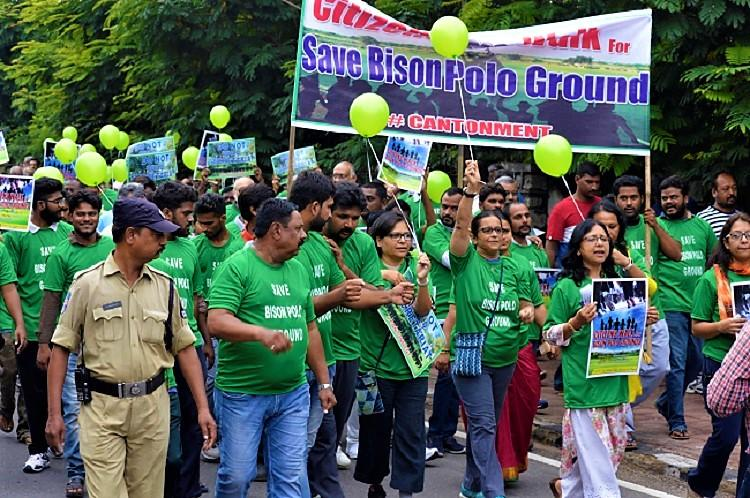 Save Bison Polo Ground Hundreds march in Hyderabad against new Telangana Secretariat