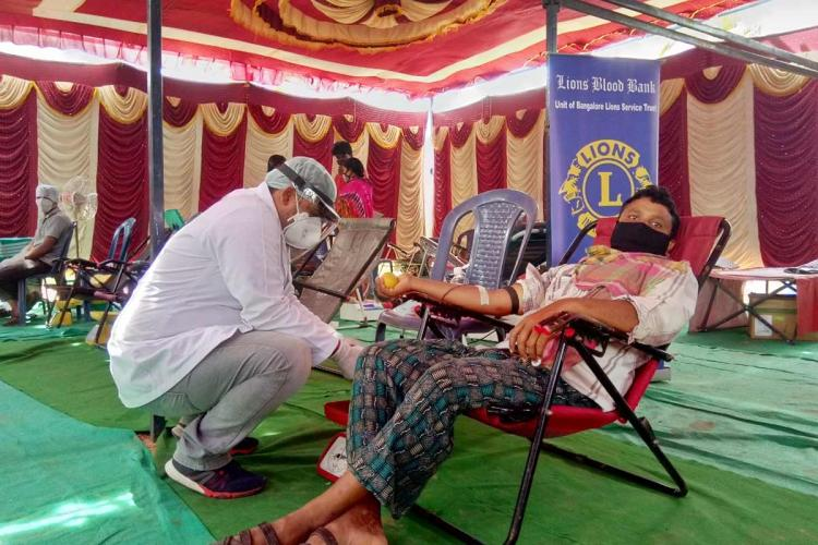 Blood donation exercise in a migrant labour settlement in Bengaluru