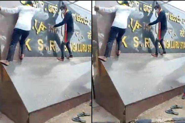 Pro-Kannada group vandalises Hindi signboard in Bengaluru posts video online