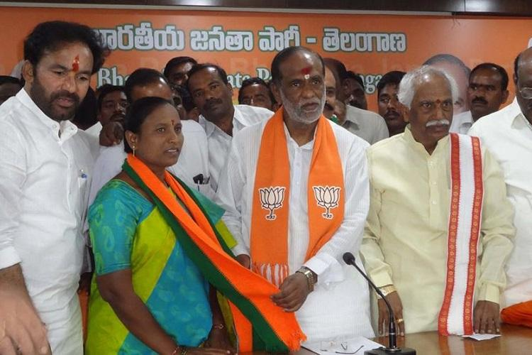 Denied TRS ticket for Telangana polls MLA Bodiga Shobha defects to BJP