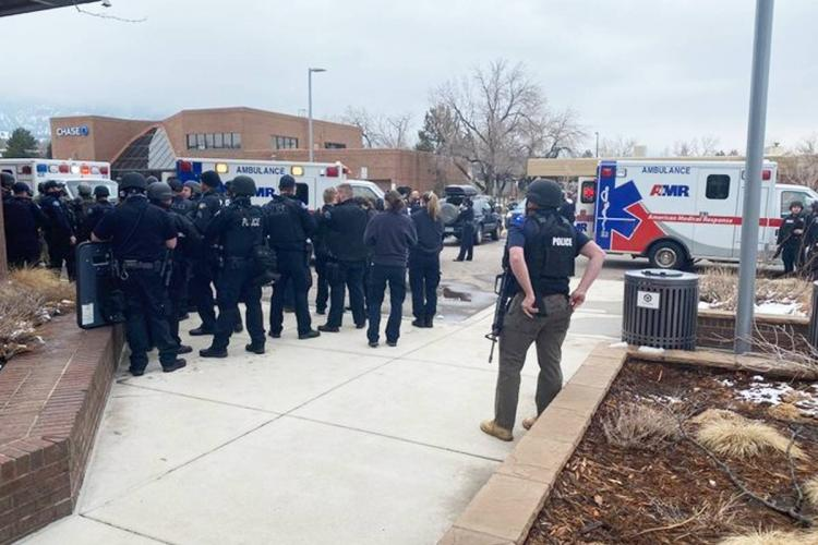 Boulder police personnel at the spot of the shooting