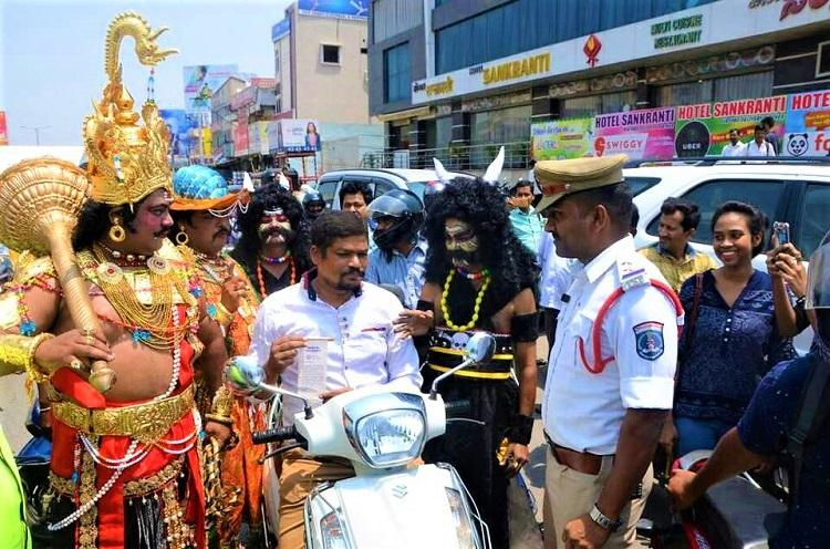 In pics How commuters in Hyd learnt a lesson on road safety from Yama himself