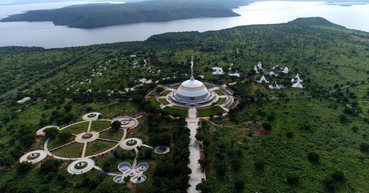 Aerial view of Buddhavanam heritage theme park near Hyderabad