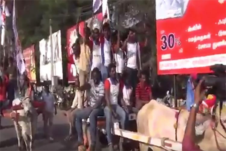 From bus to bullock cart DYFI members protest TN fare hike