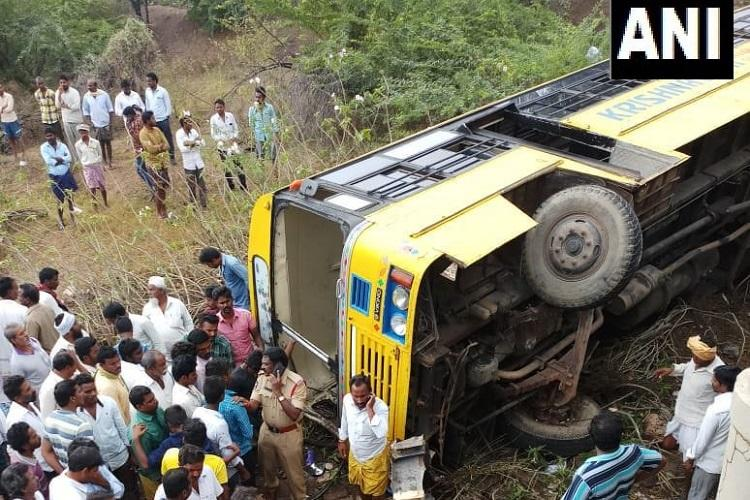 15 students injured as school bus overturns in Andhra 2 critical
