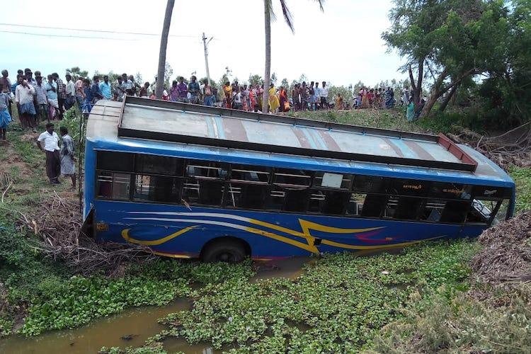 Private bus falls off-road into a stream in Tiruvarur cops allege overspeeding