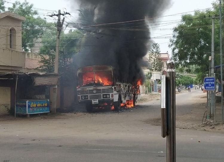 Thoothukudi protests Police bus set on fire by unidentified persons no one hurt