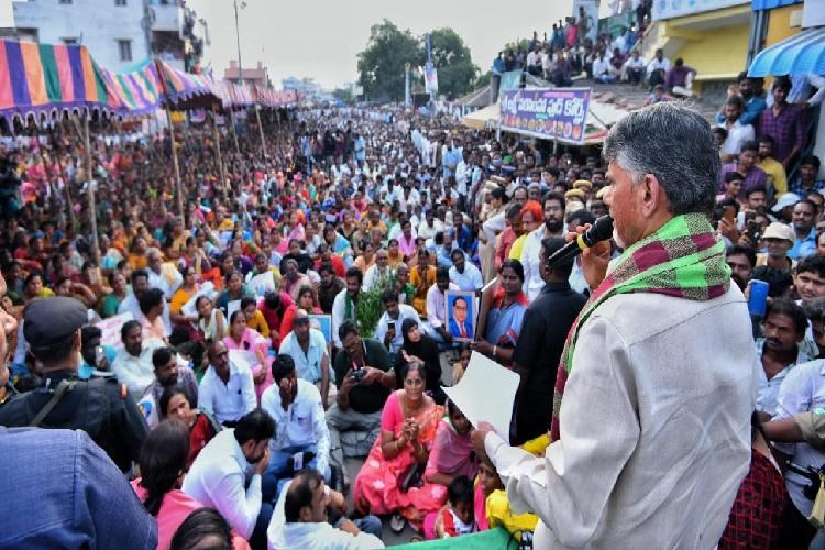 Naidu joins protests against Andhra CMs 3 capital decision hits out at Jagan