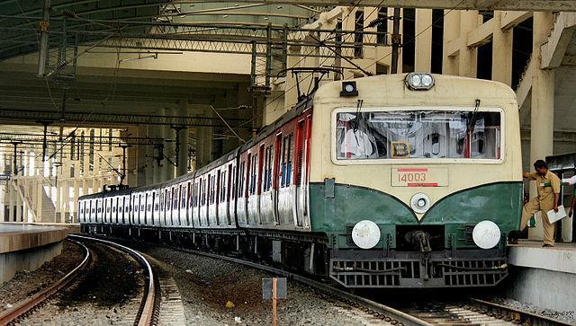 A suburban train in Chennai parked at a railway station