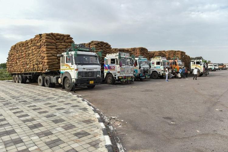 Trucks carrying goods