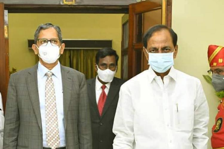 Telangana CM KCR with CJI NV Ramana in Hyderabad