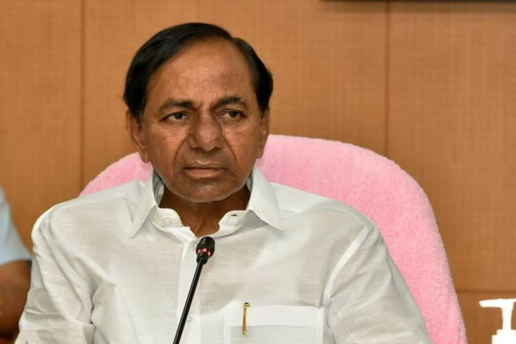 CM KCR addressing officials in high level review meeting on heavy rains in Telangana