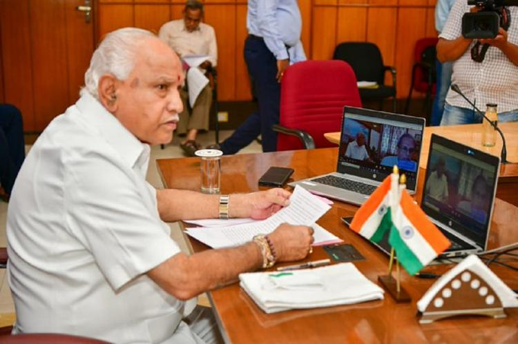Chief Minister yediyurappa at a meeting in his office