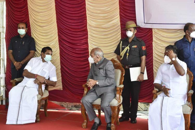 Tamil Nadu Governor Banwarilal Purohit with Chief Minister K Palaniswami and Deputy CM O Panneerselvam during celebration of Mahatma Gandhis 151st birth anniversary at Marina Beach in Chennai