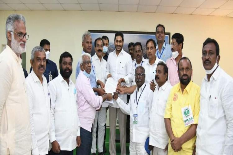 Labour union representatives giving representation to CM YS Jagan