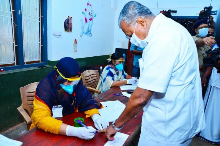 Kerala Chief Minister Pinarayi Vijayan casting his vote