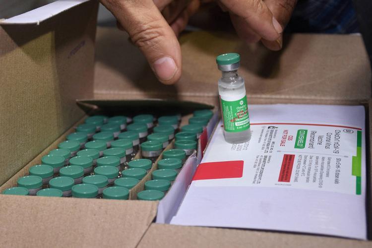 A box containing vials of Covishield COVID-19 vaccine
