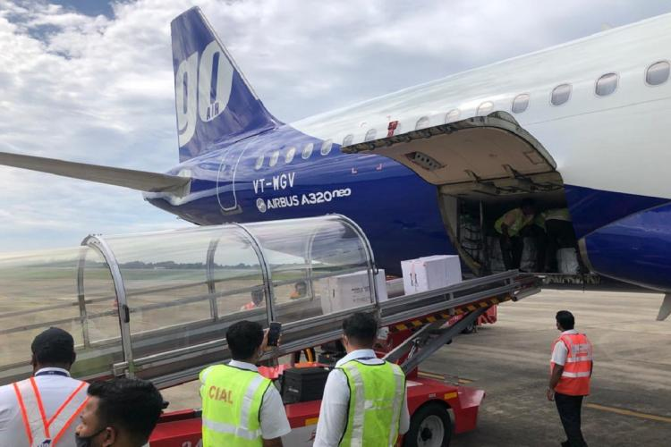 Go Air flight carried COVID-19 Vaccine at Cochin International Airport while ground staff waiting to receive