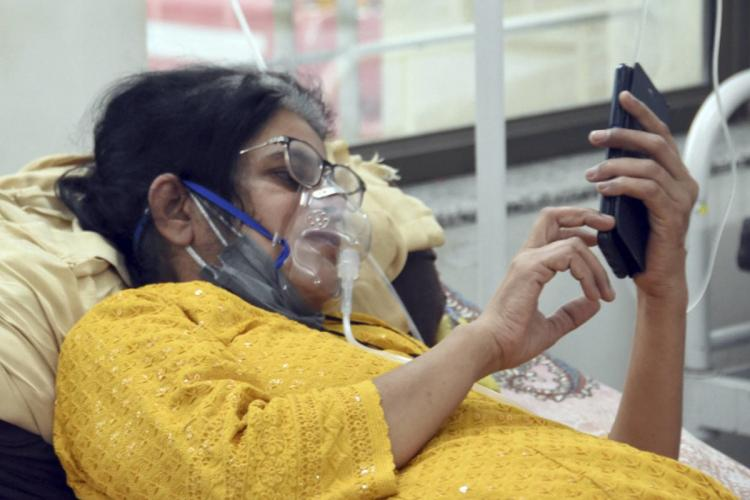 Patient on oxygen support
