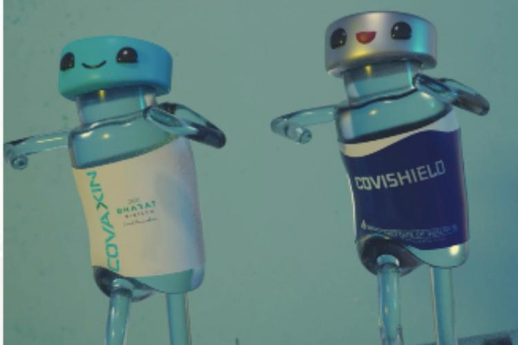 Covaxin and Covishield vials dancing