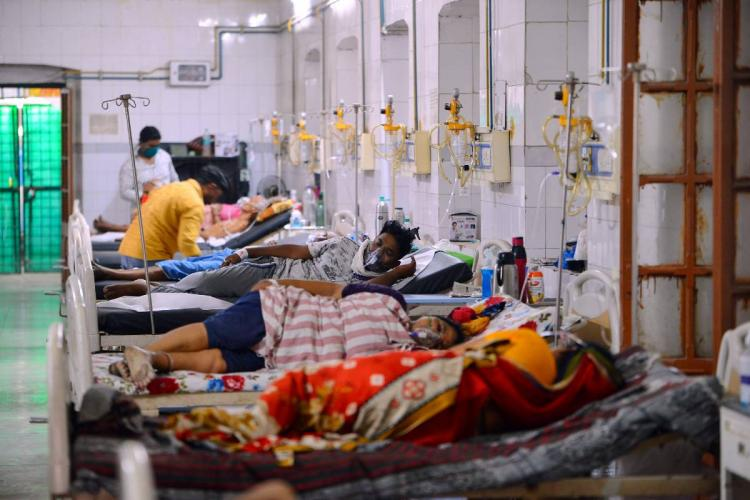 A crowded Covid-19 ward at a hospital in Varanasi