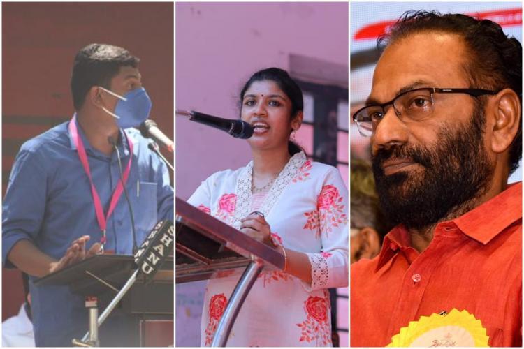 Collage of Kerala SFI leaders Sachin Dev Chintha Jerome and CPI M leader VK Madhu