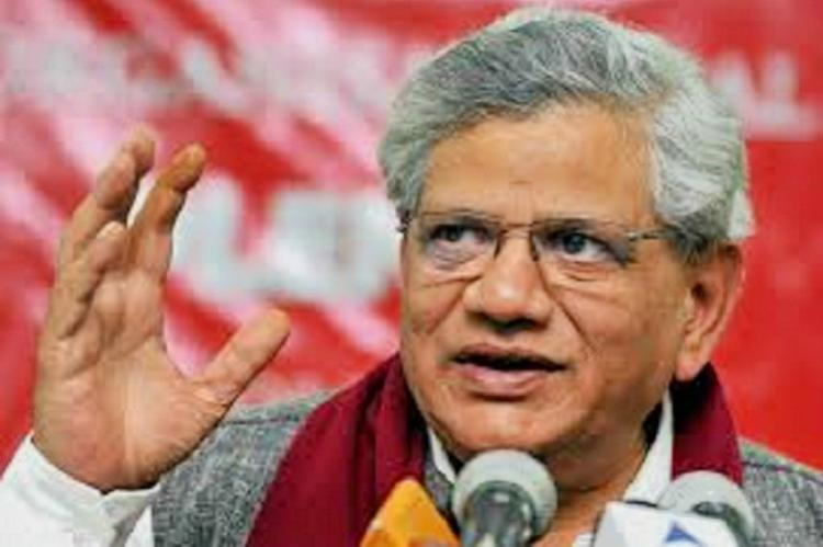 Anti-CPM Slogans At Sitaram Yechury's Media Conference In Delhi