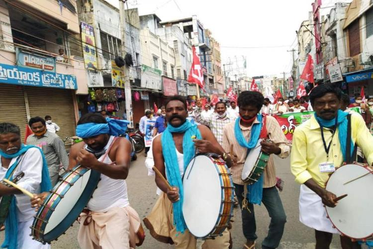 CPI(M) taking out a protest rally in Ongole