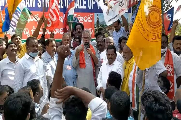 Protest by scores of people from CPI party at the site of Vishaka steel plant