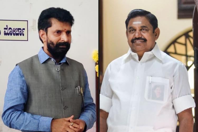 BJP Tamil Nadu in-charge CT Ravi on the left and Tamil Nadu CM EPS on the right