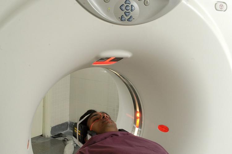 A representative image of a patient undergoing a CT Scan