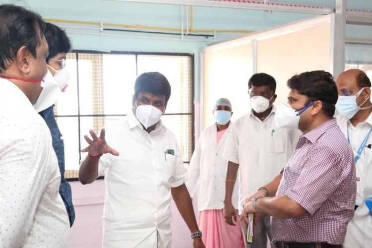 Tamil Nadu Health Minister C Vijayabaskar instructing the officials on the measures that needs to be taken to step up the fight against coronavirus in a Government Hospital in Chennai