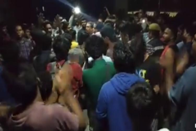 Hyderabad University students protest against midnight surprise checks by officials